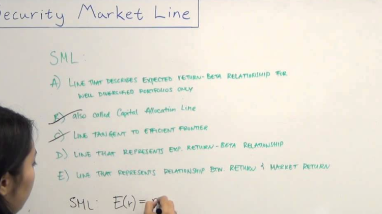 Security Market Line Formula and Graph