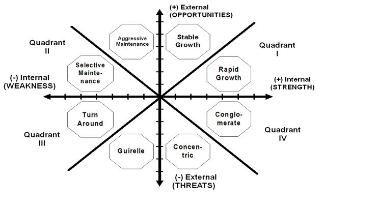Discuss the Grand Strategy Matrix Dimensions in Detail